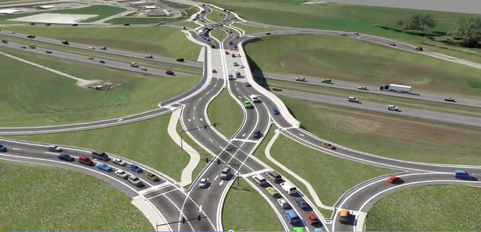 Diverging Diamond Interchange at I-69 and Campus Parkway
